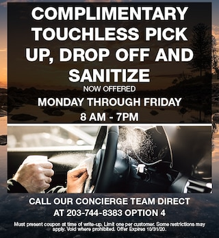 Complimentary Touchless Pick Up, Drop Off and Sanitize