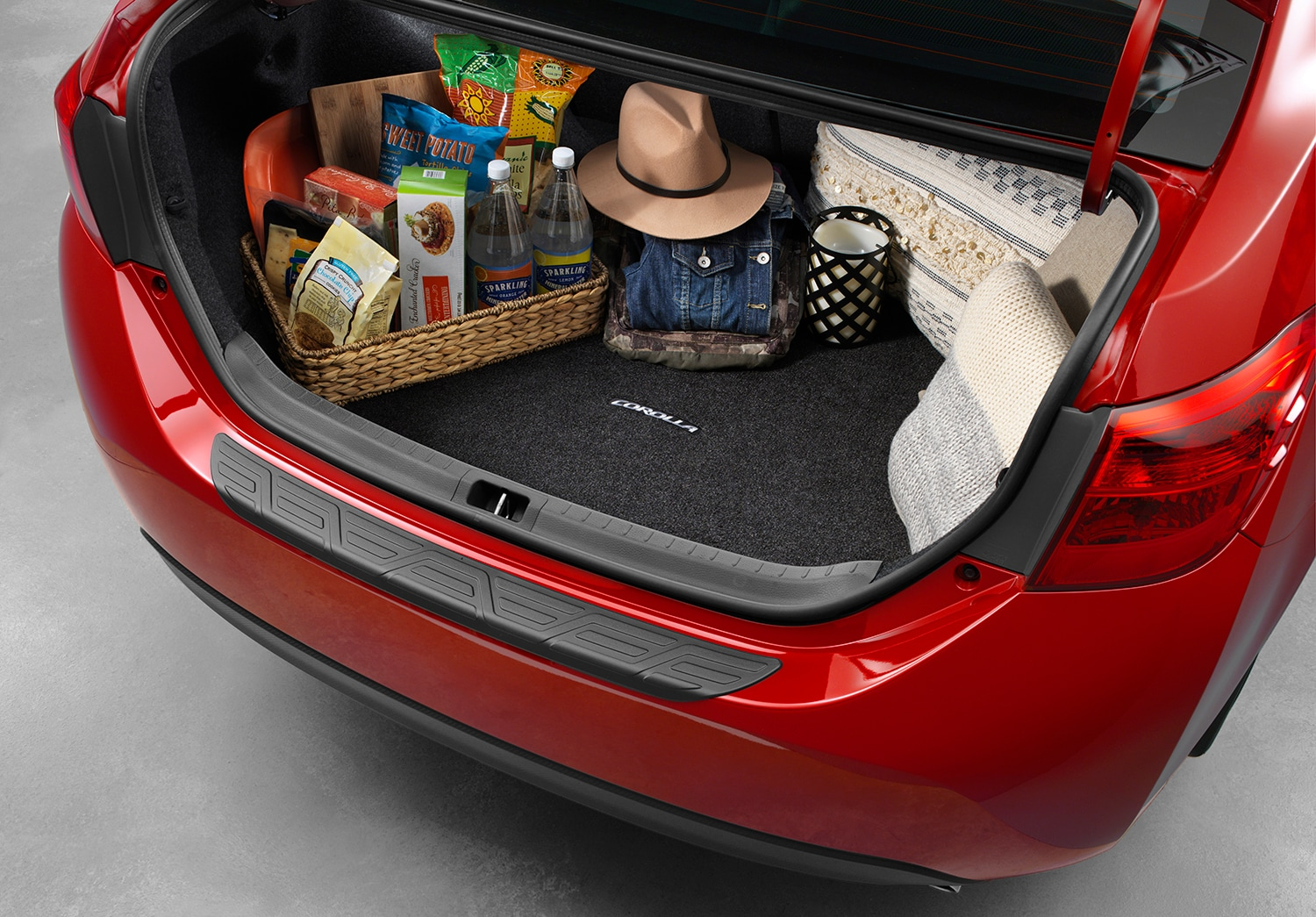 interior view of a corolla trunk space and storage options