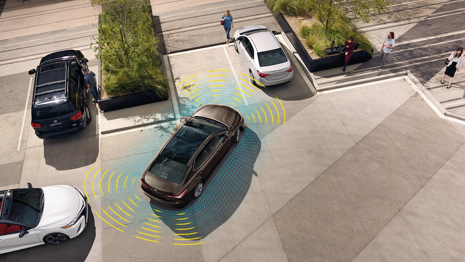 Visualization of the toyota safety sensor in a parking lot