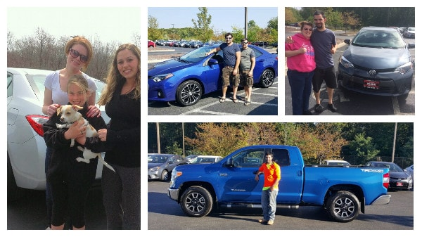 collage of happy Colonial Toyota Scion customers & new Toyota owners