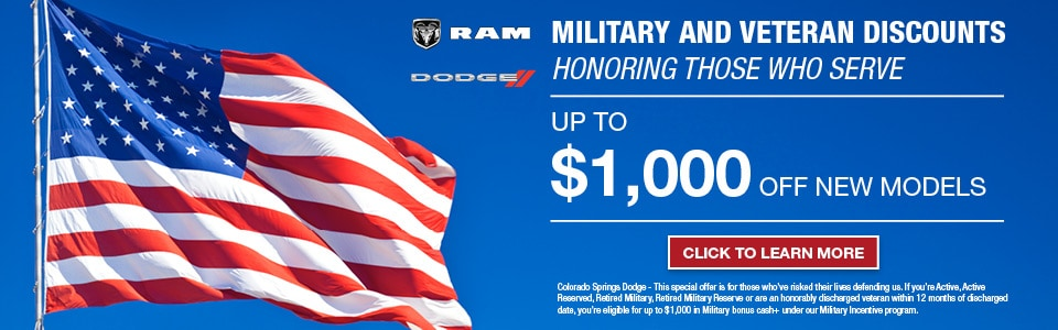 Colorado Springs Dodge >> Special Military Financing Offers And Discounts At Colorado Springs