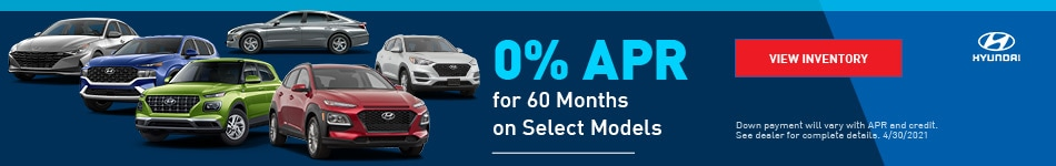 0% APR for 60 Months on Select Models - April