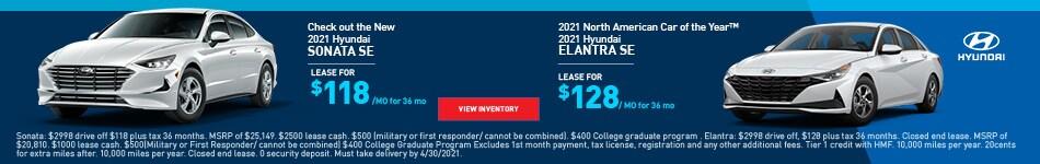 2021 Hyundai Sonata SE & 2021 Hyundai Elantra SE - April