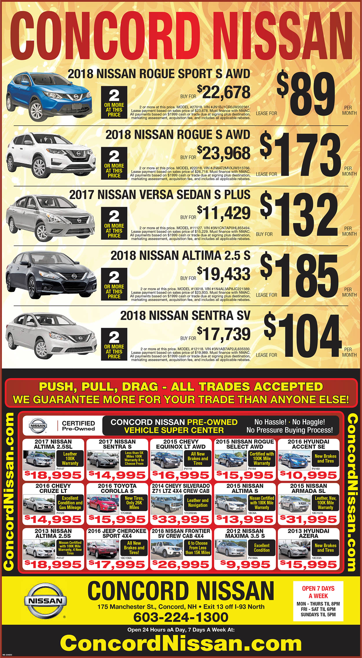 Concord Nissan Specials and Lease Deals