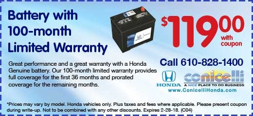 *All Honda Leases and APR financing offers: Security deposit waived for customers who qualify for automatic approval. To qualify for Conicelli Discount, customer must pay cash, arrange own financing, or have Conicelli arrange financing through one of these preferred lenders: AHFC, PNC, Bank of America, Wells Fargo, Chase, Ally Bank.
