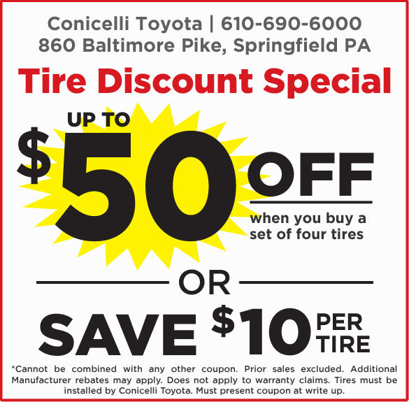 Toyota Tire Deals >> Tire Discount Special At Conicelli Toyota Conicelli Toyota Of