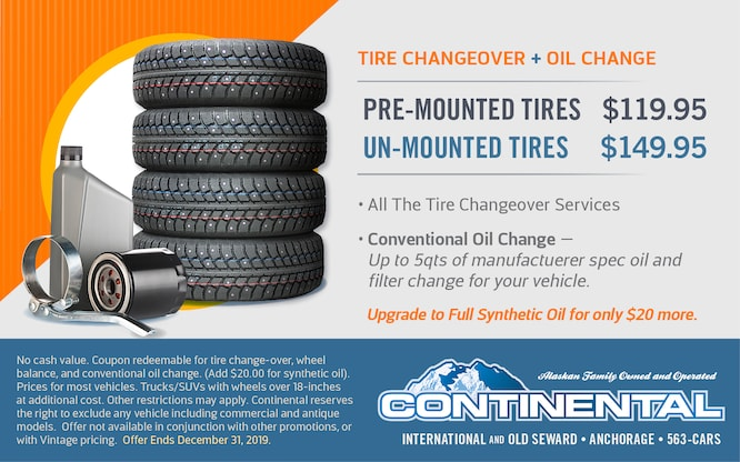 Cost To Mount And Balance Tires >> Service Specials Continental Nissan Of Anchorage