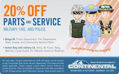 20% Off Parts and Service - Military, Fire, and Police