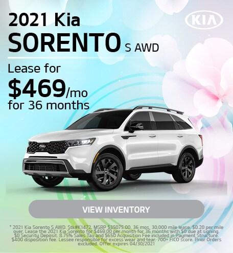 2021 Kia Sorento S AWD | April
