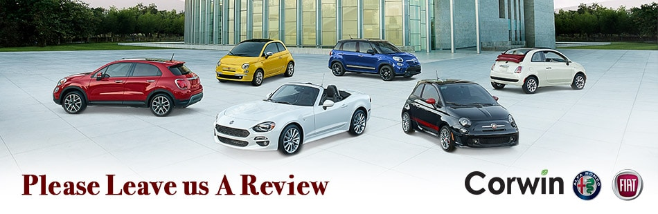 Review Corwin FIAT on Facebook, Yelp, YellowPages, Cars.com or Google in Springfield, MO