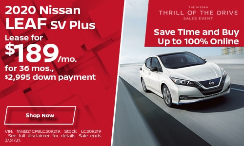 2020 Nissan Leaf SV Plus- March Lease Offer