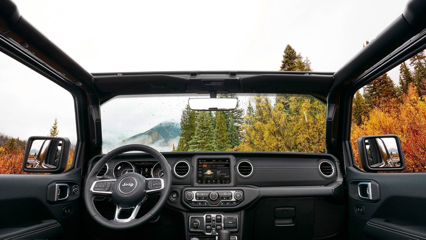 2018 Jeep Wrangler Front Interior Dashboard and Steering Wheel