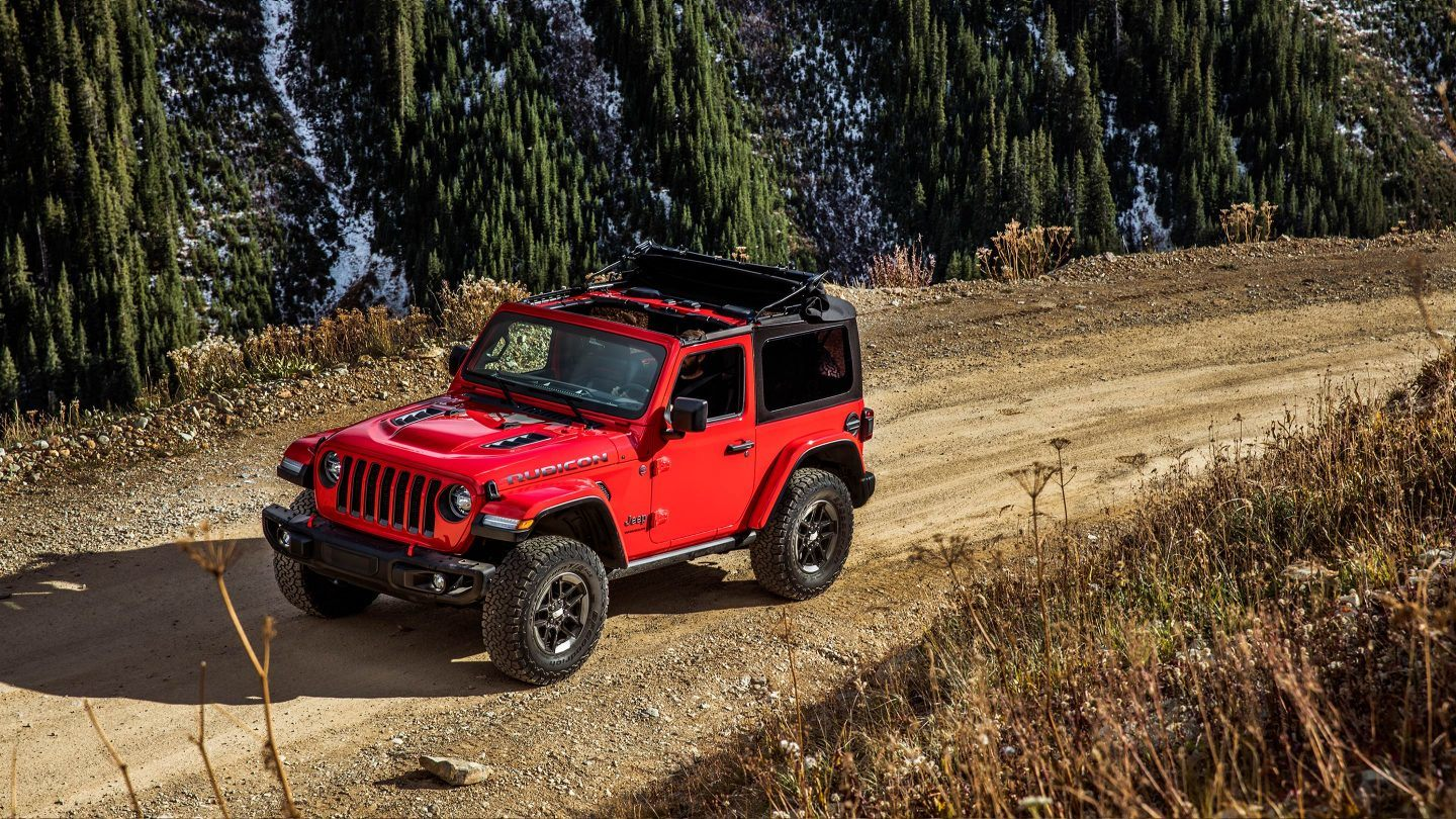 2018 Jeep Wrangler Red Exterior Top and Side View