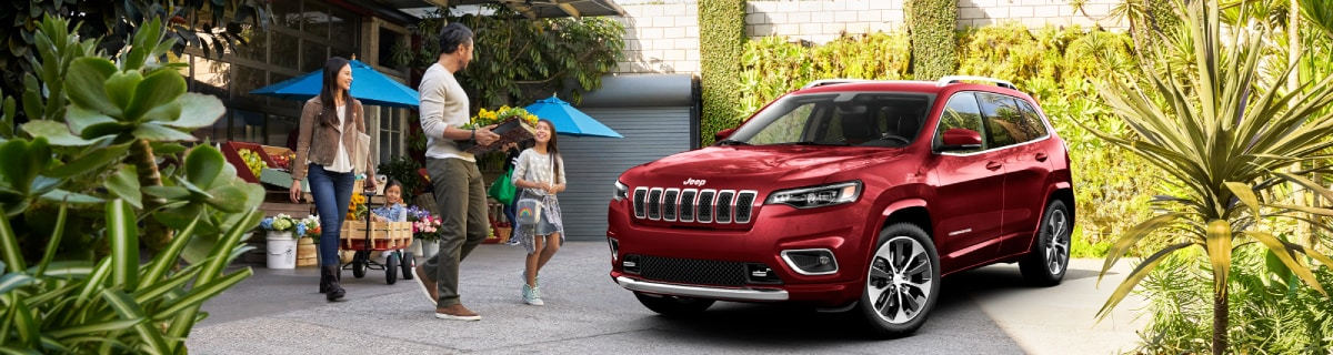 New Jeep Cherokee at a flower shop