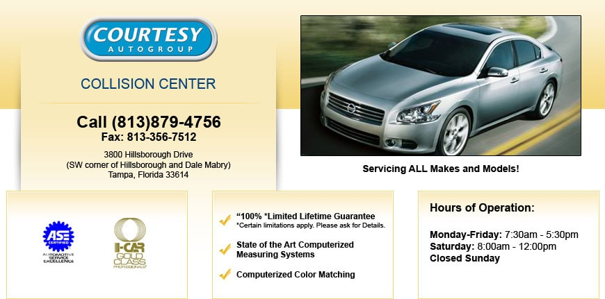 Collision Center in Tampa | Courtesy Nissan of Tampa