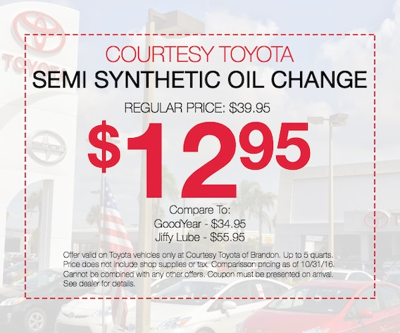 Synthetic Oil Change Coupons >> 12 95 Oil Change Coupon And More Toyota Service Deals Tampa