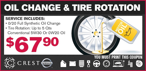 Tire Rotation Coupon >> Oil Change And Tire Rotation Coupon Crest Nissan
