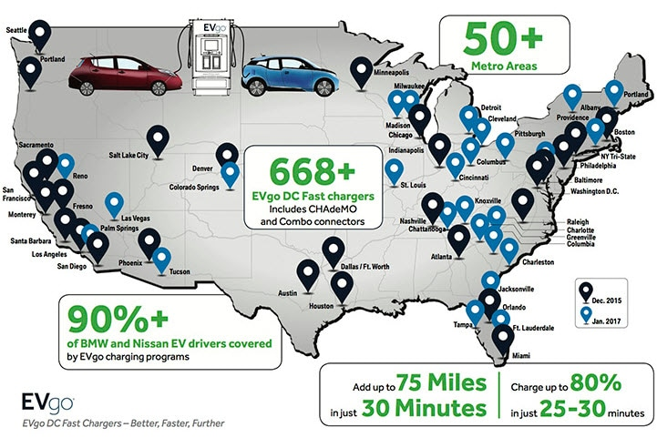 EVgo fast charging station U.S. locations