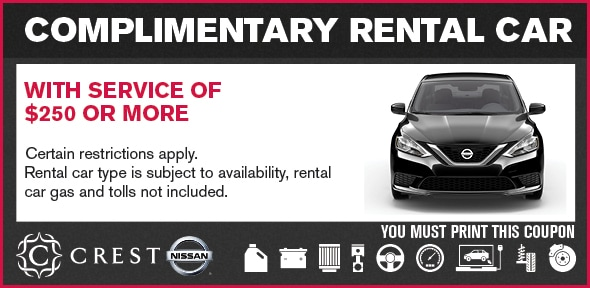 Vehicle Rentals At Crest Nissan. Rentals Special Service Coupon, Dallas  Automotive Service