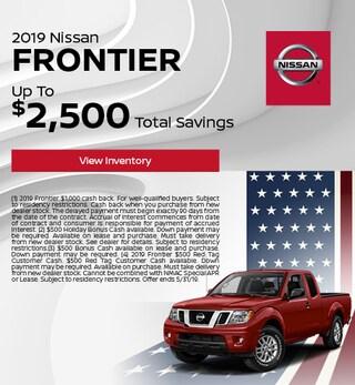 2019 Nissan Frontier - Cash Back