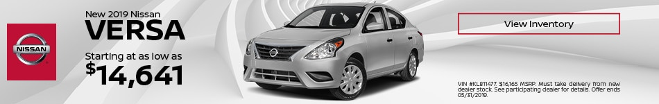 New 2019 Nissan Versa - Starting At