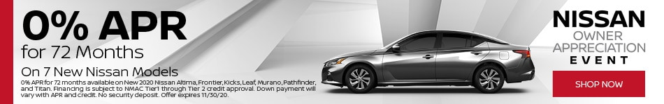 0% APR for 72 Months on 7 New Nissan Models