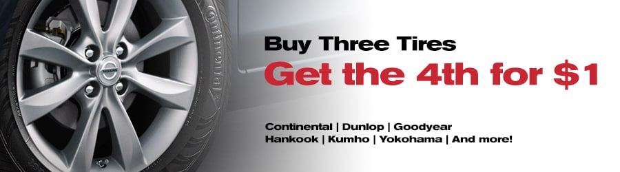 Buy Three, Get 1 Tire for $1 Tire Promotion at Courtesy Nissan of Tampa