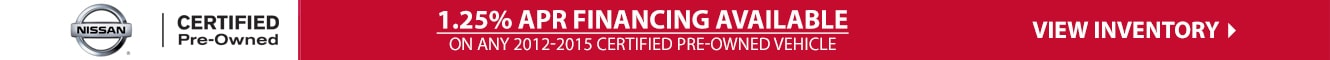 1.25% Financing Available on All 2012-2015 Certified Pre-Owned Vehicles at Crown Nissan of Greenville