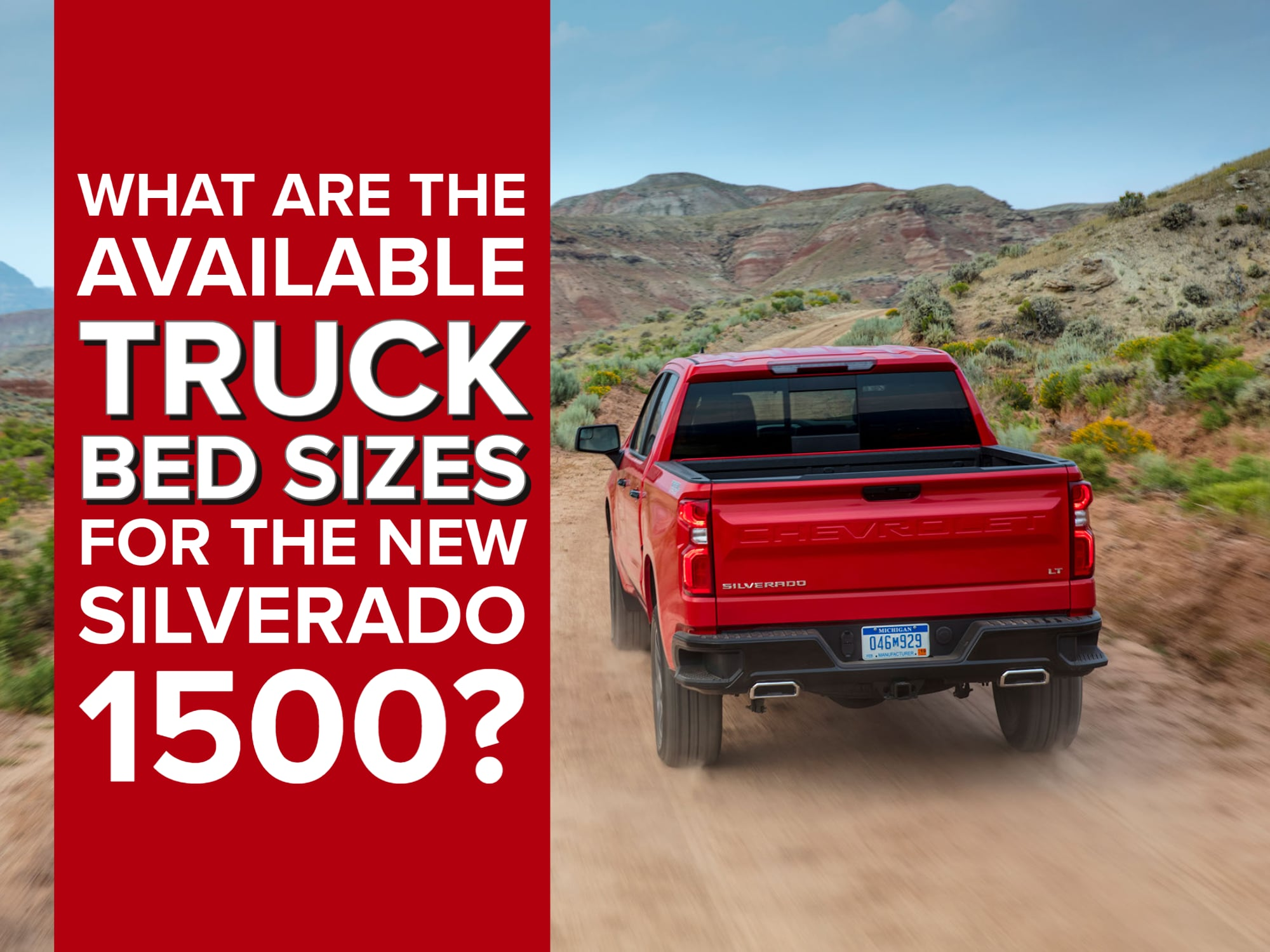 Rear View of red Silverado driving offroad