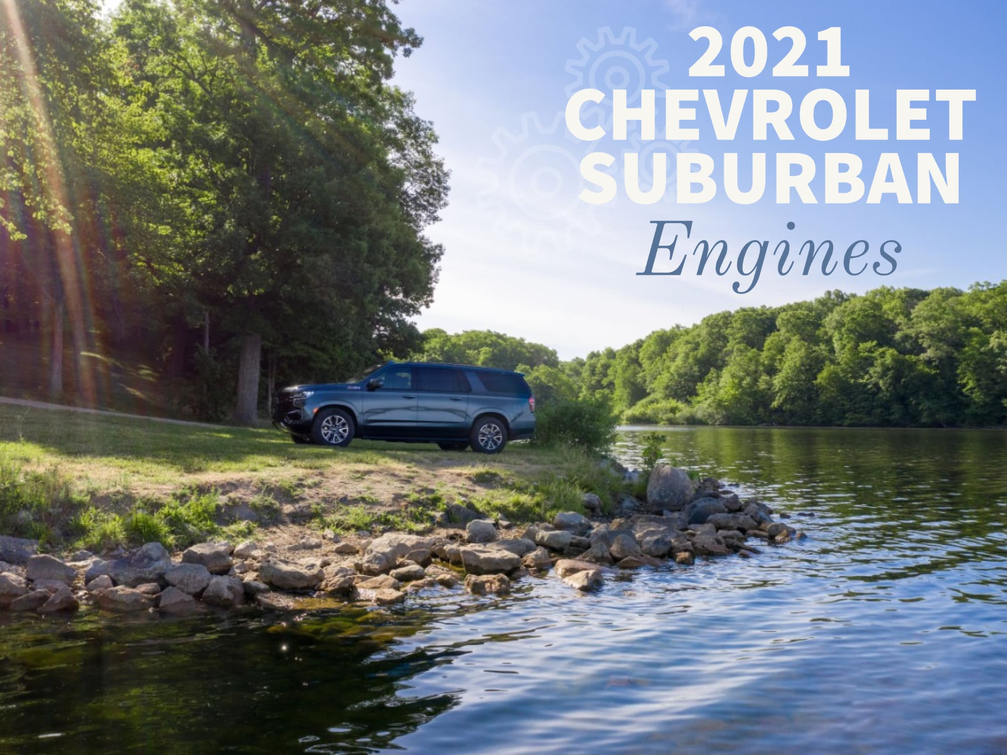 Landscape with Water and Trees, Chevrolet Suburban parked by water
