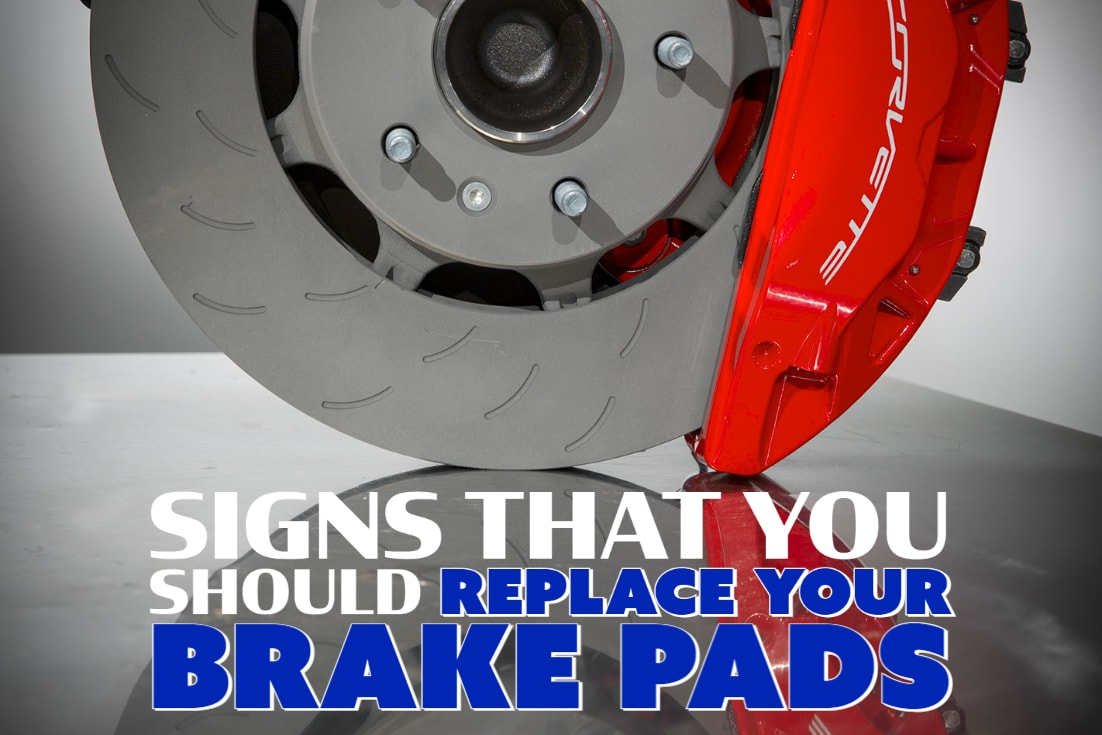 """Bottom View of Corvette brake with words """"Signs That You Should Replace Your Brake Pads"""""""