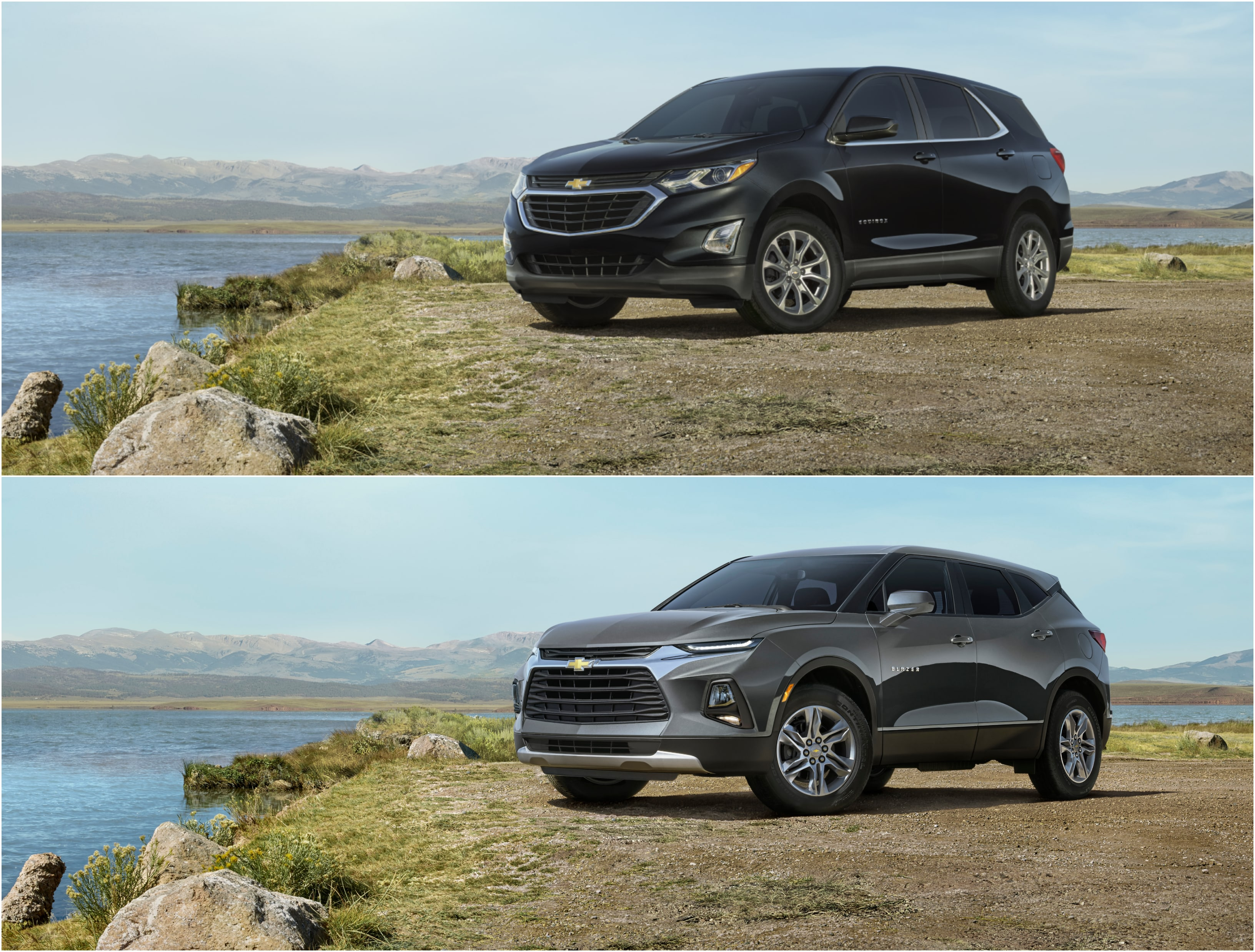 Top photo: Front 3/4 View 2021 Chevy Equinox SUV, Bottom photo:  Front 3/4 View 2021 Chevy Blazer SUV