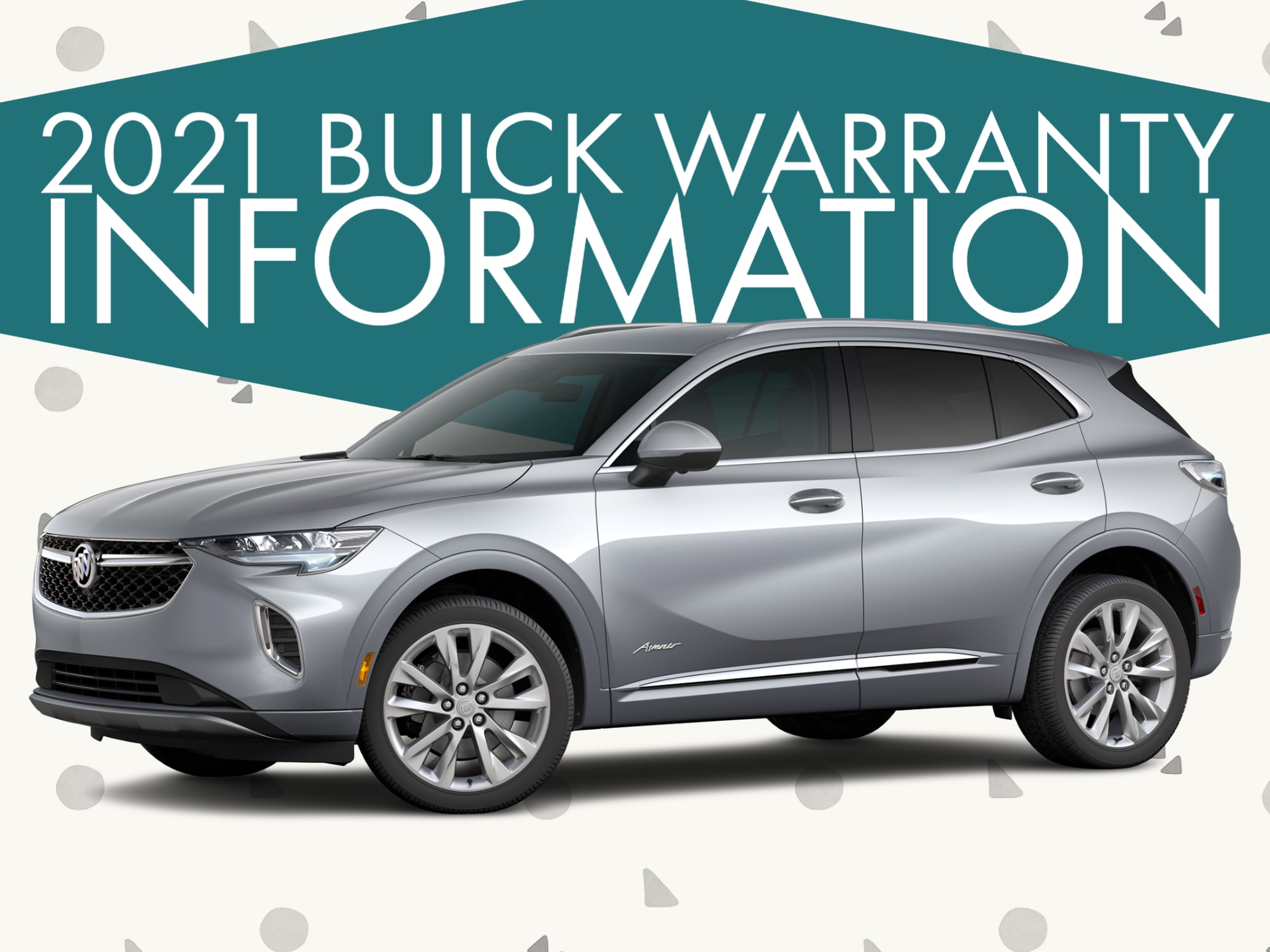 """Silver Buick SUV Side View with """"2021 Buick Warranty Information"""""""