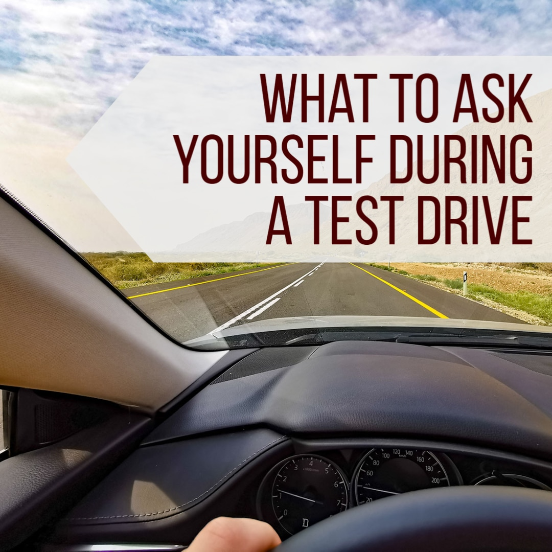 """Driver View on Road with """"What to ask yourself during a test drive"""""""