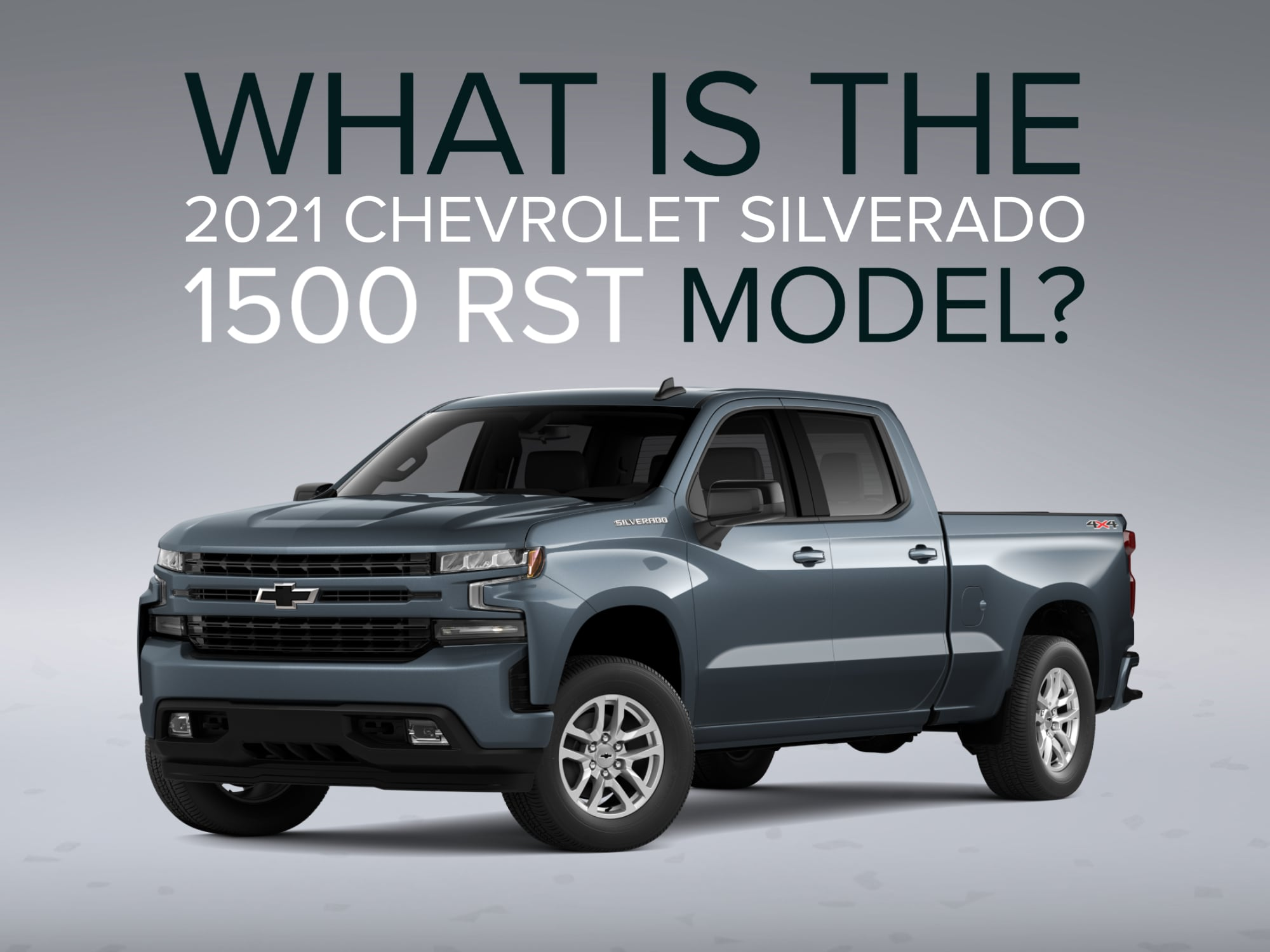 Front 3/4 of Slate Grey Silverado RST truck with Grey background