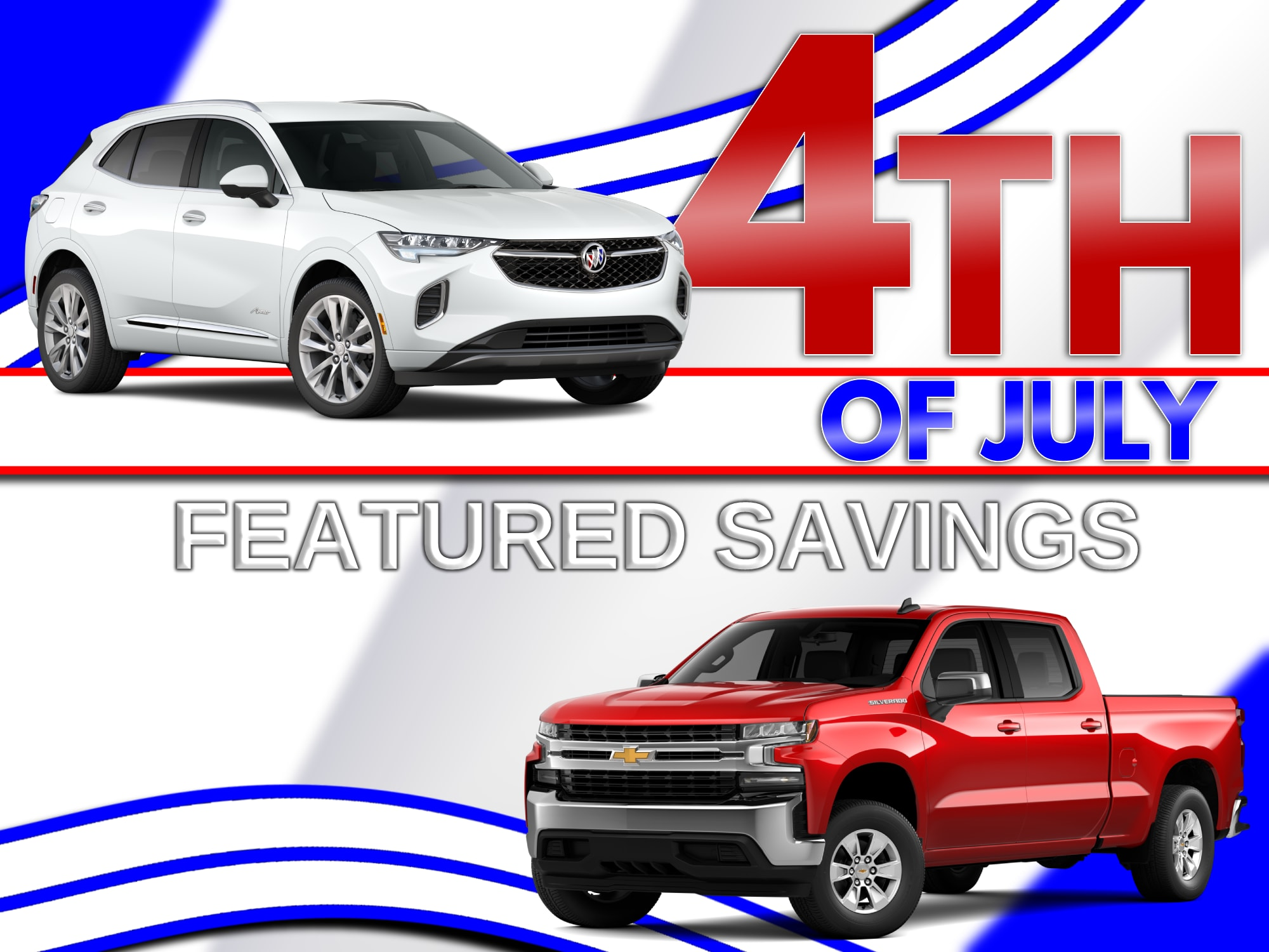 Red White and Blue Patterned Back ground with Red Chevrolet Silverado and White Buick Enclave