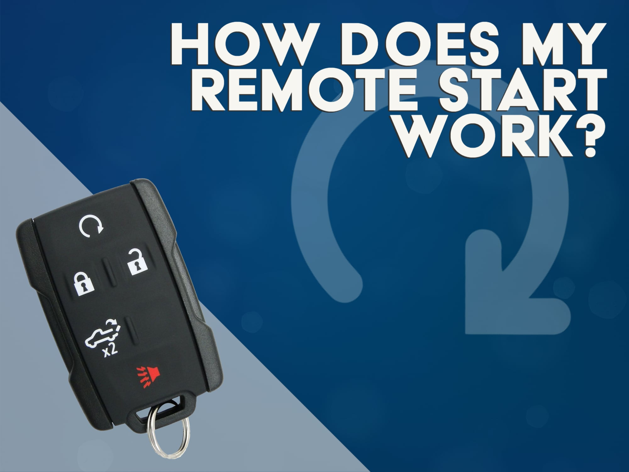 """Blue Back Ground with Chevy Key Fob and """"How Does My Remote Start Work""""?"""