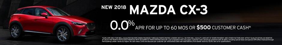 Financing Offer : 0.0% APR for 63 months on select Mazda Mazda CX-3 models