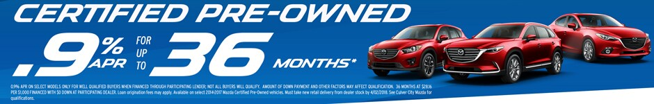 Special APR rate deal on Certified Pre owned Used Vehicles at Culver City Mazda