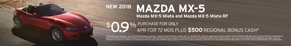 Financing Offer : 0.9% APR for 72 months on select Mazda models