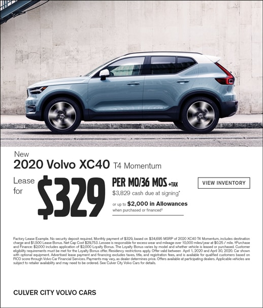 Special Lease Offer on a 2020 Volvo XC40 at Culver City Volvo
