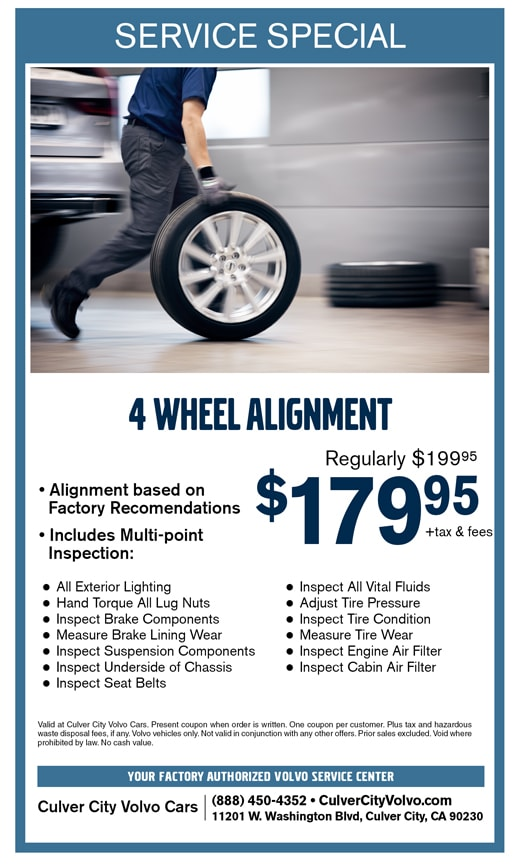 4 Wheel Alignment coupon for Culver City Volvo Cars