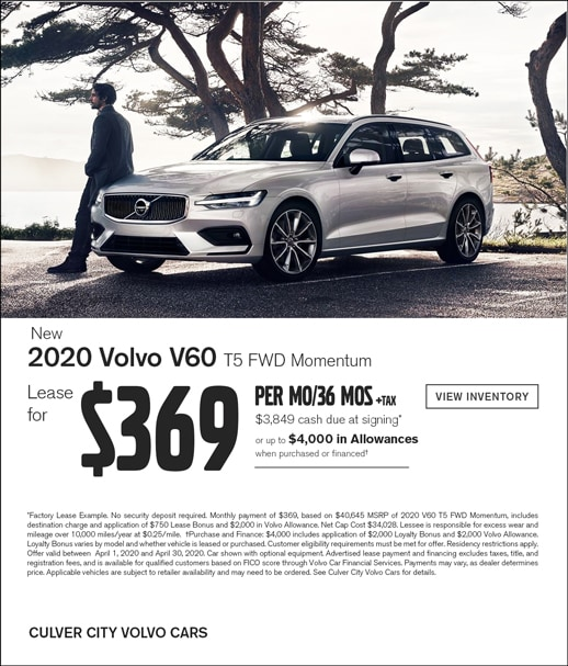 Special Lease Offer on a new 2020 Volvo V60 at Culver City Volvo