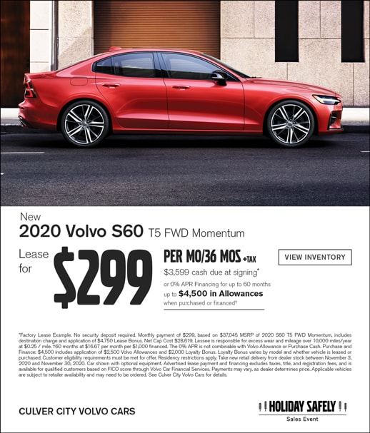 Special offer on Volvo S60 at Culver City Volvo Cars