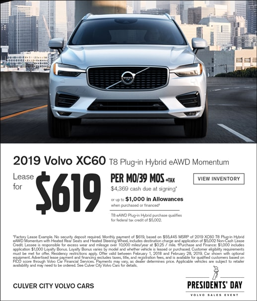 New 2019 Volvo XC60 February Lease Specials at Culver City Volvo Cars