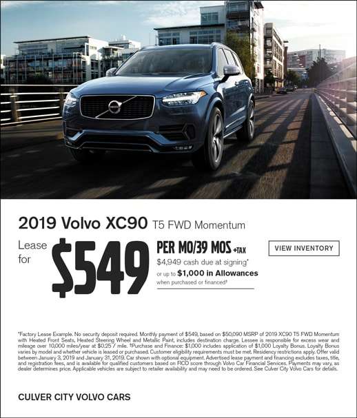 Special lease on 2019 Volvo XC90 at Culver City Volvo