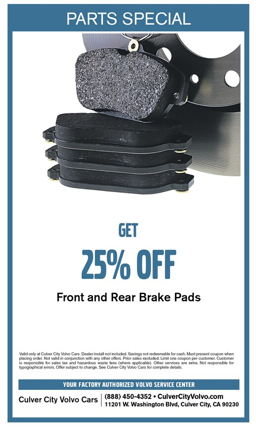 Save on  front and rear brake pads at Culver City Volvo Cars