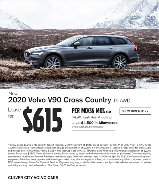 Special Lease offer on a new 2020 Volvo V90 at Culver City Volvo