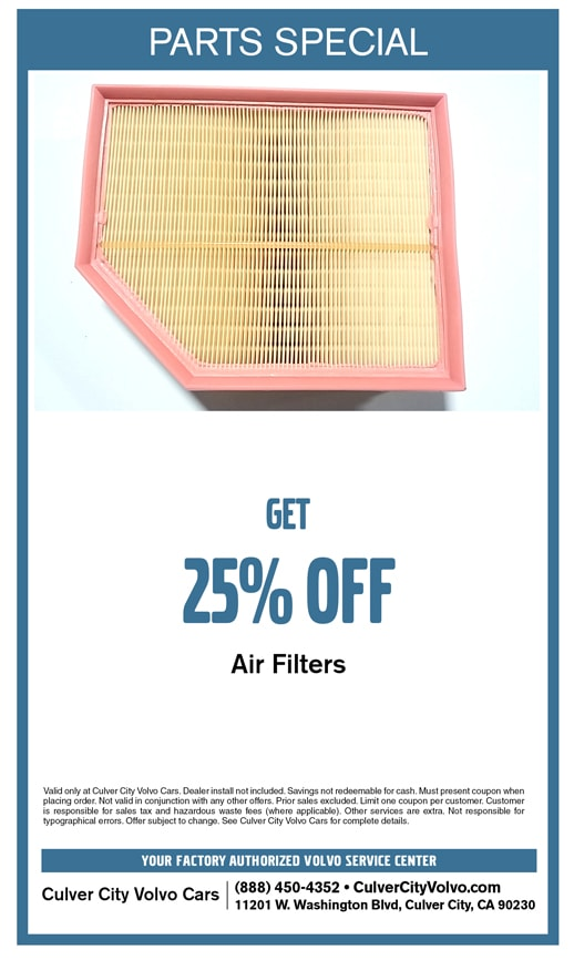 Special discount offer on select new Volvo Air Filters at Culver City Volvo Cars