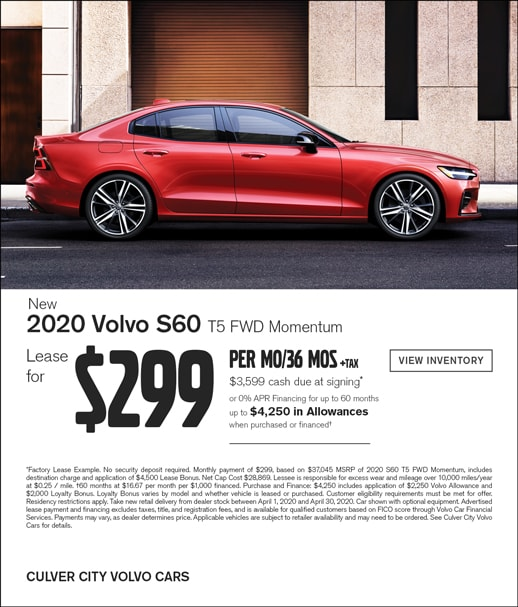 Special Lease offer on a 2020 Volvo S60 at Culver City Volvo